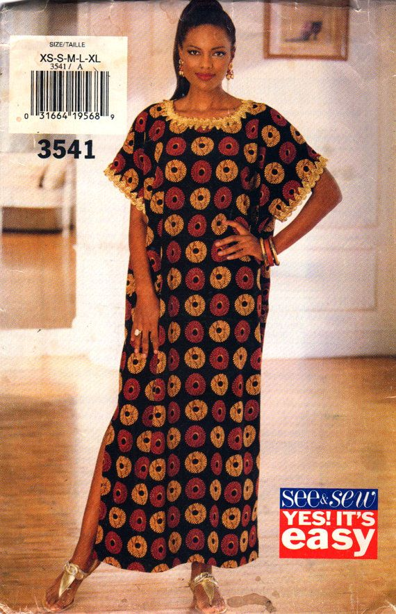 Butterick See & Sew 3541 1990s Misses CAFTAN Pattern Easy Womens Vintage Sewing Pattern Size XS S M L Xl Bust 30 - 42 UNCUT