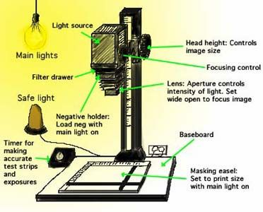 Diagram of a black and white enlarger. Set the size, focus and position of the image with the main lights on before getting out the photographic paper. Turn off the main light, and carry out the exposure with the safe light on.