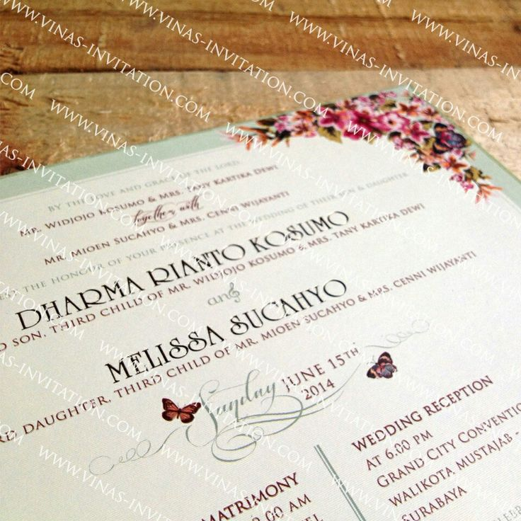 Vinas Invitation. Vintage flowery invitation. Custom design. Hardcover invitation. Wedding. (Courtesy of Dharma ❤ Melissa) Indonesia wedding.  Any questions please visit our website www.vinas-invitation.com & fill in the contact form.