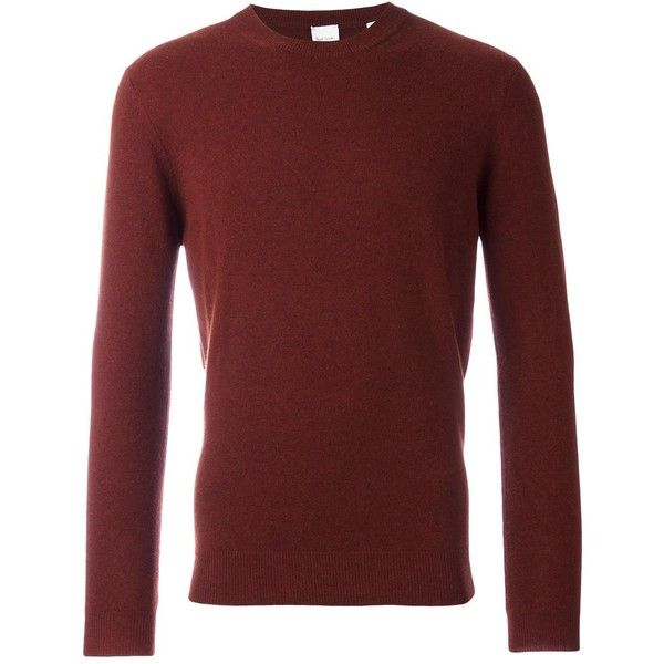 Paul Smith crew neck jumper ($470) ❤ liked on Polyvore featuring men's fashion, men's clothing, men's sweaters, red, mens red sweater, mens crew neck sweater, mens cashmere sweaters, mens red cashmere sweater and mens crewneck sweaters