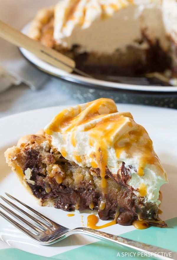 Bourbon Derby Pie with Salted Caramel Whipped Cream - The best Kentucky Derby Pie Recipe you've ever tasted, AKA pecan pie with chocolate.