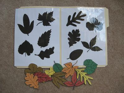 Fumbling Through Parenthood: File Folder Games - Leaf shadow match
