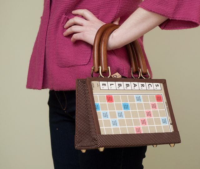 Old game board purse geek craft day ideas pinterest for Diy scrabble costume