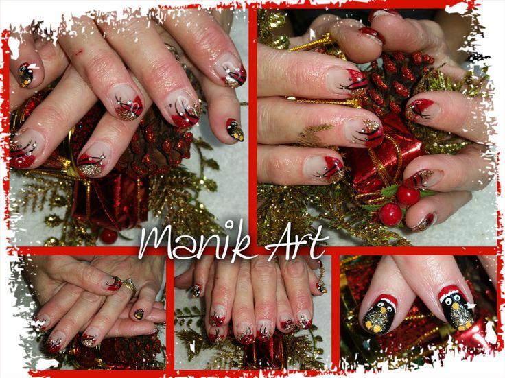 #christmas #red #gold #neol #nail #nailart #design