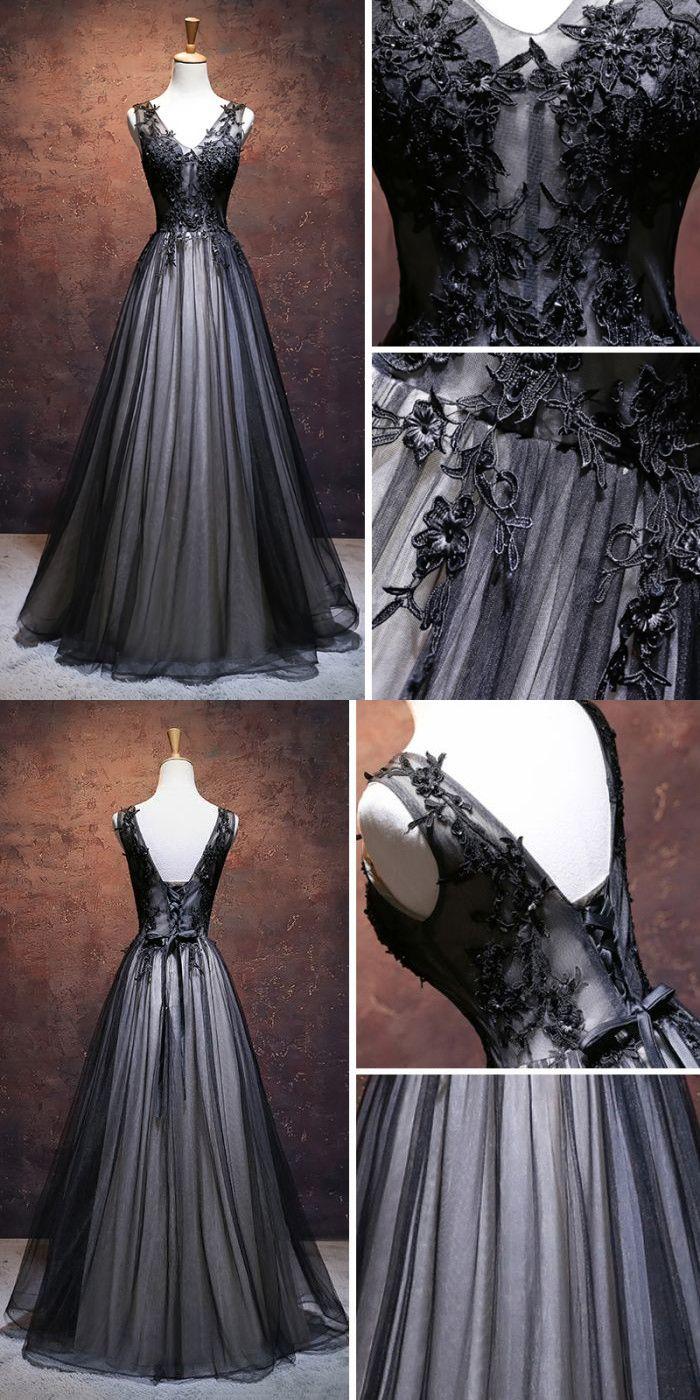 CHIC A-LINE V-NECK FLOOR LENGTH TULLE BLACK APPLIQUE LONG PROM DRESS EVENING DRESS AM337