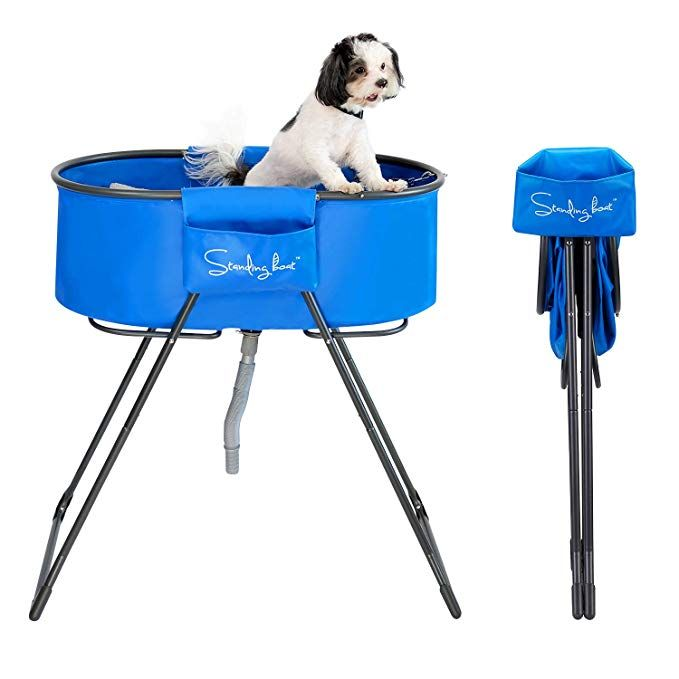 Standing Boat Elevated Folding Pet Bath Tub And Wash Station For