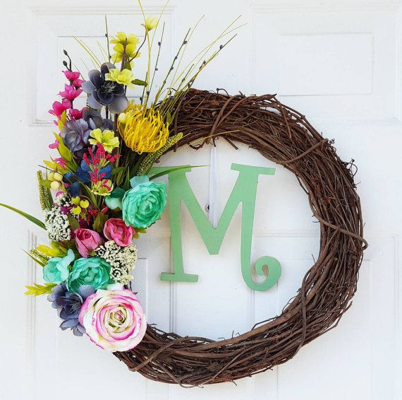 Grapevine Floral Wreath, Assorted Flowers, Peonies, Orchids, Lilacs, Buttercups, Roses, Lillies, Chrysanthemums, Mothers Day