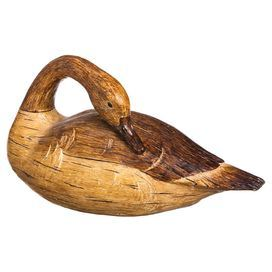 Add A Lodge Inspired Touch To Your Living Room Mantel Or Library Coffee Table With This Decoy Style Goose Decor Featuring Wood Grain Finish For Rustic