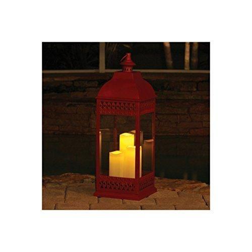 San Nicola Triple Led Candle Lantern, Red - 28.25 Tall