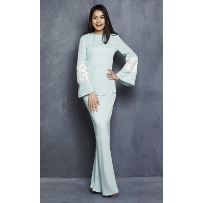 Lily Modern Kurung with Sequin Bell Sleeves in Turquoise