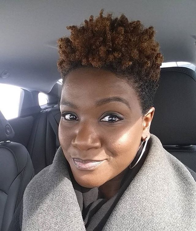 Short Natural Hair Afro With Color