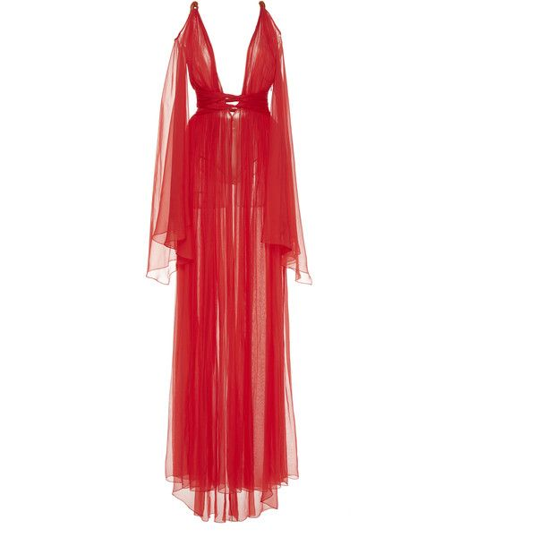 Dundas Grecian Rope Shoulder Gown ($3,920) ❤ liked on Polyvore featuring dresses, gowns, red, red dress, v neck gown, long red evening dress, plunging v neck dress and long red evening gown