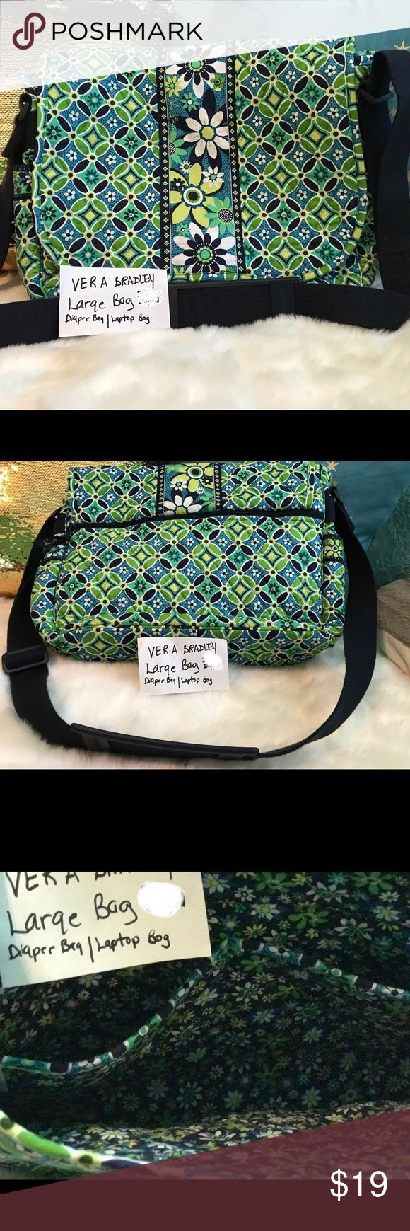 Vera bradley laptop bag/diaper bag, carry all Excellent condition, with several compartments as shown in pics. Large enough to use for a laptop or as a diaper bag Bags Laptop Bags