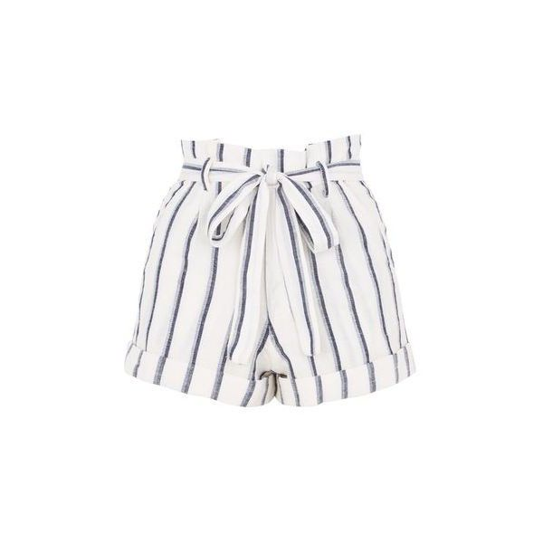 Topshop Stripe Paperbag Shorts (£26) ❤ liked on Polyvore featuring shorts, bottoms, cream, high-rise shorts, striped high waisted shorts, tie-dye shorts, cream shorts and high waisted shorts