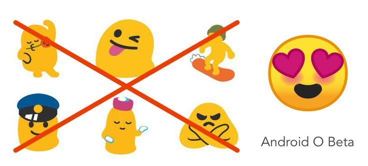 Google rediseña los emojis de Android para que dejen de parecer gusanos obesos #Googleio2017   Google publicó ayer la primera beta de Android O una versión que optimiza el consumo de batería y la seguridad del sistema. También introduce el picture in picture de manera nativa y una arquitectura modular que pretende acabar con la fragmentación de actualizaciones. Pero hay algo que nos emociona aún más.  Emojis.  Google lleva cerca de un año trabajando en un rediseño de sus infames emojis esos…