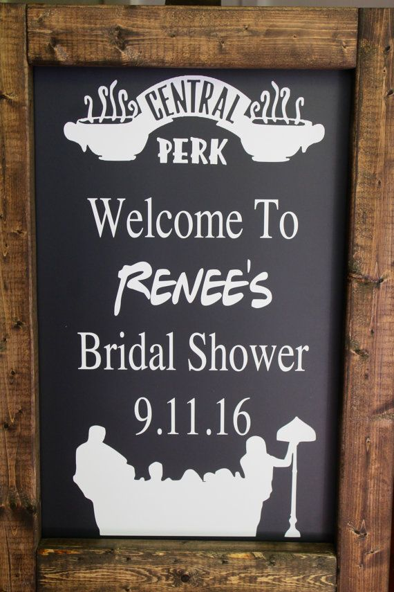 Welcome to Shell Belles Shoppe!! Fun rustic FRIENDS TV SHOW THEMED bridal shower chalkboard easel!! Perfect to set out and welcome your guests to your special day!! The chalkboard is finished in a dark walnut or antique white stain. Stands alone. Writing done in white & reads: Welcome to (insert names) Bridal Shower - (Date). *You can pull vinyl writing off after event to write whatever sayings you would like throughout the year & display on your front porch or throughout your home. Use for…