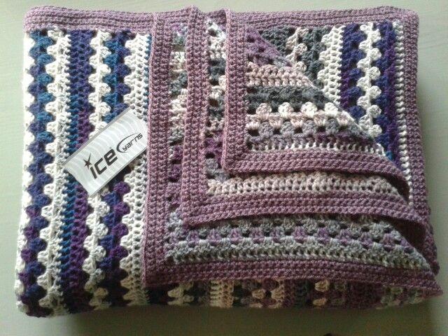 Gehaakte deken van Neeltje ca.2.00x 1.40 m (NOW-deken, patroon in dwnlds)