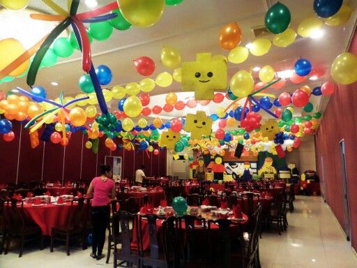 Lego themed Ceiling Decor | Party Decor by J & J Balloon ...