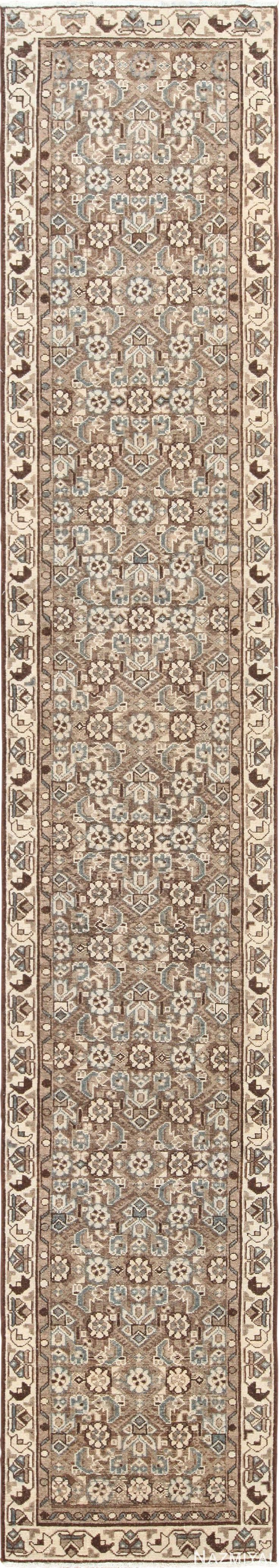 View this beautiful and higly decorative earth tone colored herati fish design antique Persian Malayer #runner #rug #49630 available for sale at Nazmiyal Antique #Rugs located in the heart of #NewYorkCity.