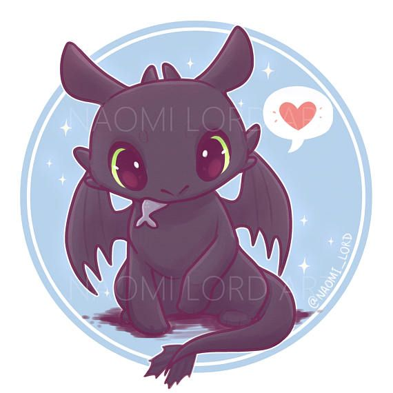 Toothless (kawaii chibi Dragon) Stickers and/or Prints (6×6″ or 8×8″)