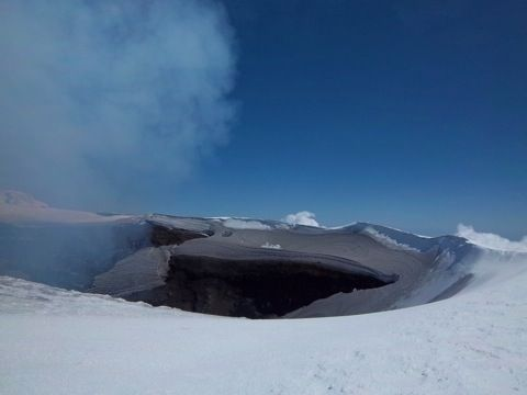 Villarica crater, Pucon, Chile. The day we hiked up it started raining and snowing pretty heavily, and the conditions up the slope became too dangerous. We were so close!!