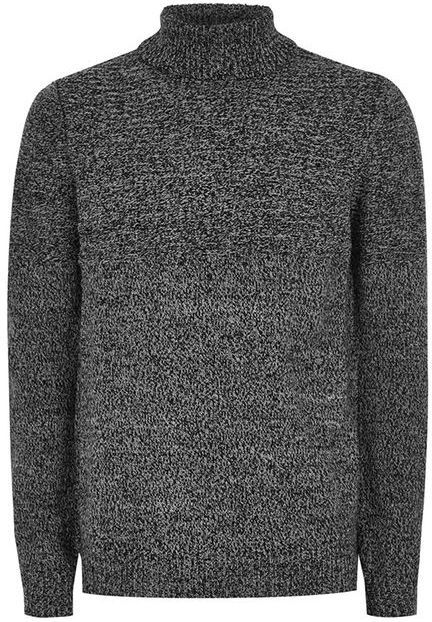 Topman Gray Salt And Pepper Twist Roll Neck Sweater