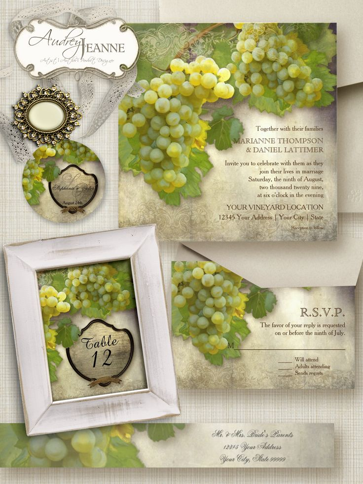 Vineyard, Winery or California Wine Country wedding venue?  This Chardonnay Wine Grapes fine art wedding invitation set might be perfect for your needs.  A complete collection of products designed to work together and make it easy to customized your wedding day.  #wedding #invitations #reception #bridal #shower #couples #decor #party #wine #winery #vineyard #grapes #chardonnay #whitewine #trending #popular #audreyjeanne
