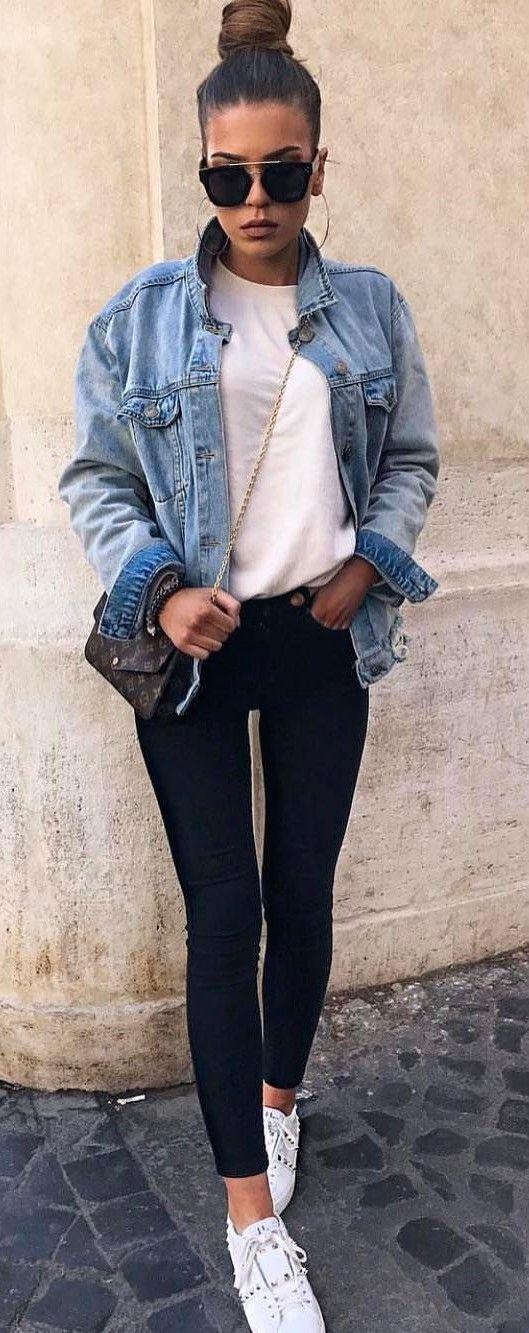 cool ootd denim jacket + top + skinnies