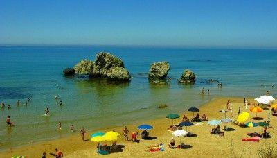 A golden sandy beach near Licata on Sicily's south coast