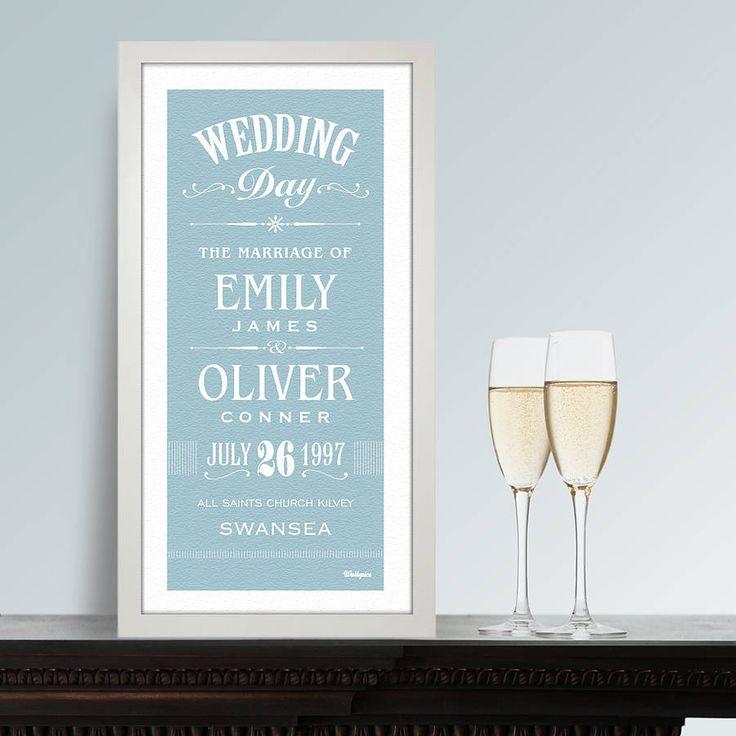 personalised wedding print by wallspice | notonthehighstreet.com
