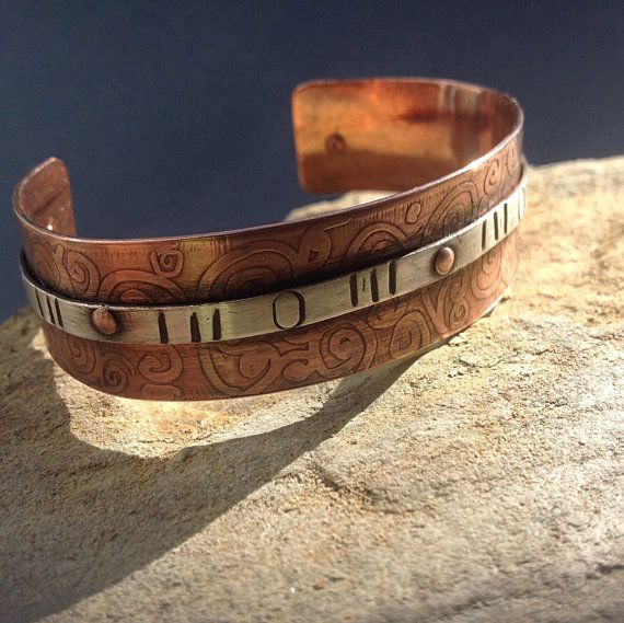 Etched upcycled copper and sterling silver cuff by HENjewellery, €38.00