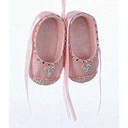 "2.5"" Pretty in Pink Pair of Baby Girl Shoes with Rhinestone Hearts Christmas Ornament"