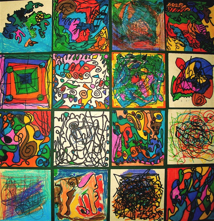 "Class ""quilt"", drawing to music in the style of Kandinsky:"
