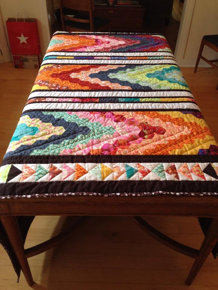 t measures roughly 80x85inches. The pattern is called Chevron Picnic from the book Hexa-go-go.