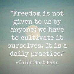 Vrijheid als dagelijkse oefening....mmmmmm...