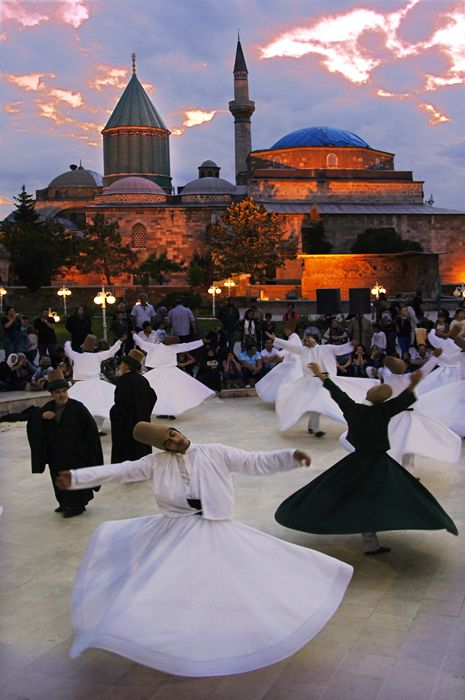 "Konya – whirling dervishes- ""We come spinning out of nothingness, scattering stars like dust"" ~ Rumi"