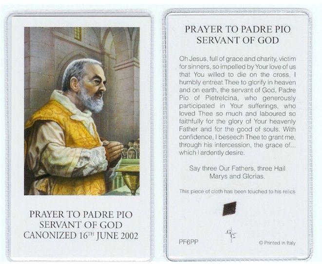St. Padre Pio Relic Prayer Card