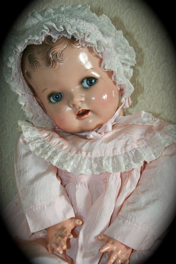 Adorable Vintage 1940's Composition Baby Doll Moving by StudioSisu