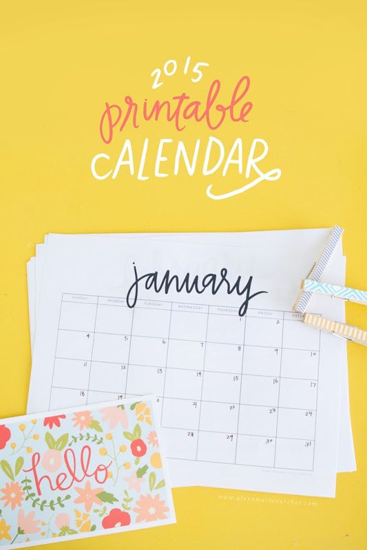 2015 Printable Calendar from He and I Blog