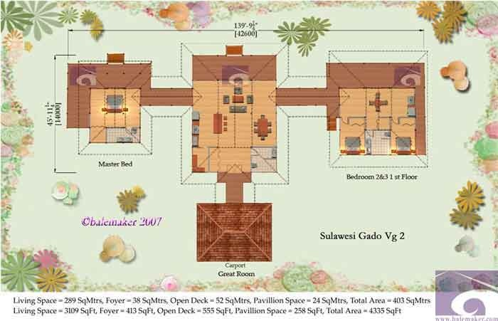 Tropical house plans sulawesi gado house plans balemaker Bali house designs floor plans