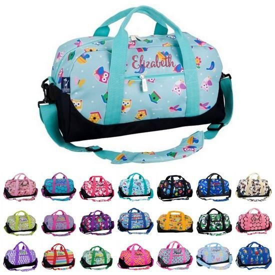 Personalized Duffel Bag by Wildkin This Personalized Overnight Duffel Bag from Wildkin makes a great overnight or athletic bag for any child. These bags cute and fashionable but they are also designed to be durable enough to withstand use by kids. It includes personalization: An Embroidered Name or Monogram in one of 20 colors and 50 fonts. Uses: Overnight Travel Carry a change of clothes for sports and activities like gymnastics, martial arts, and scouts.