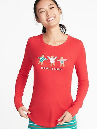 60bf3d8e Old Navy Womens Slim-Fit Holiday Graphic Thermal-Knit Top For Women Too Hot  To Handle Size XS