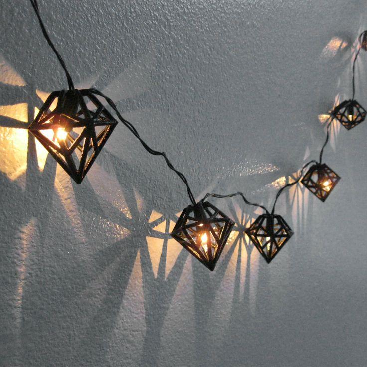 Black Diamond String Lights - 3D Printed Geometric Bulb Hanging Ornament Prism…