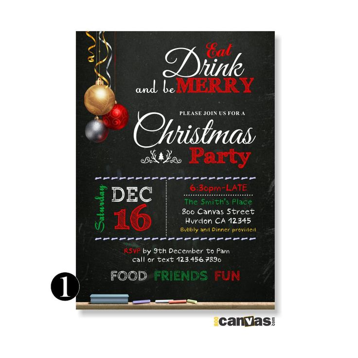 free ecard christmas party invitations%0A Printable Chalkboard Christmas Invitations with Christmas Ornaments  Eat  Drink and be Merry  Christmas Party