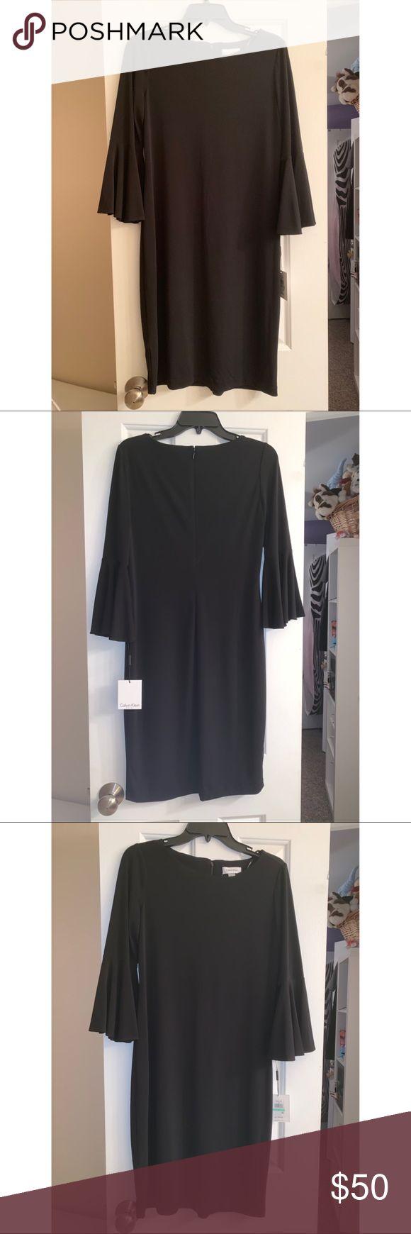 NWT Calvin Klein Black Dress Size 8 cute sleeves NWT 3