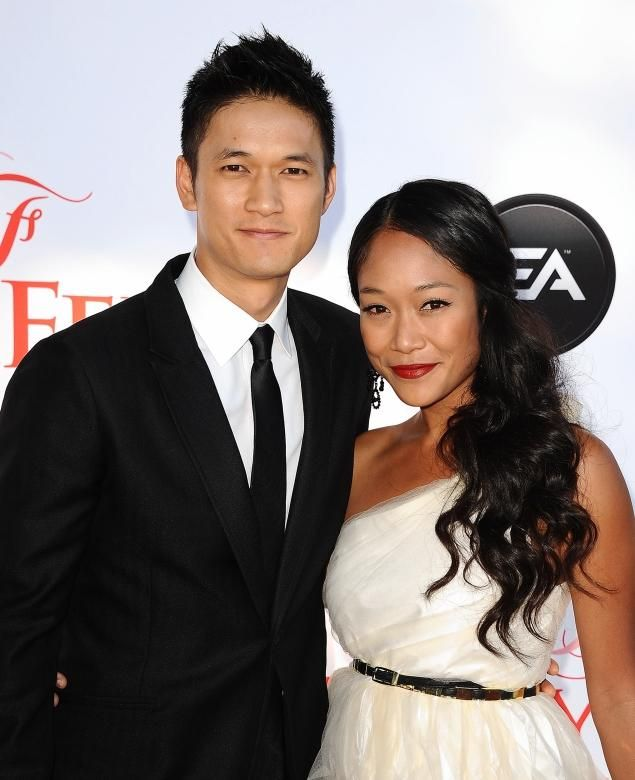 'Glee' actor Harry Shum Jr. (L) is engaged to longtime girlfriend Shelby Rabara (R).