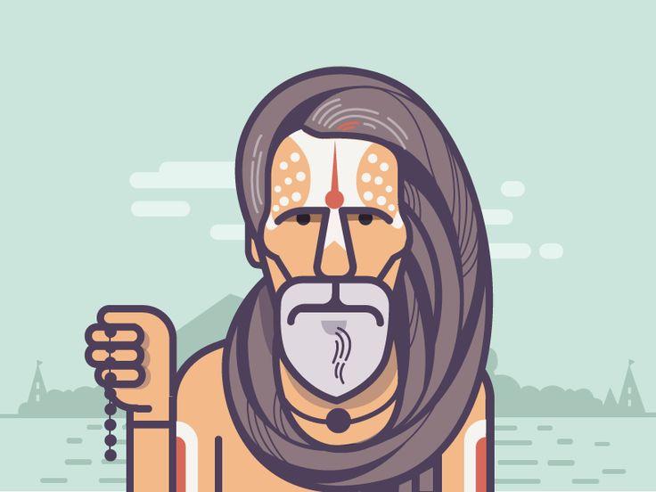 Sadhu with long, matted Jata - dreads