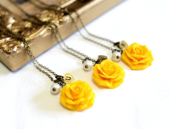 SET of 3 Yellow Rose NecklaceYellow Pendant by NikushJewelryArt