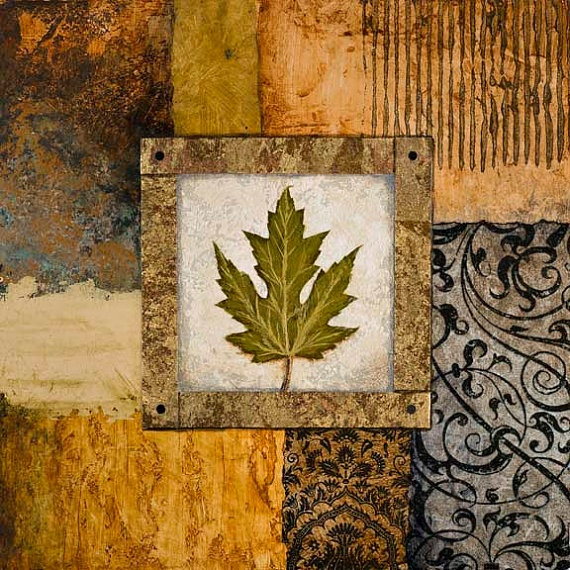 Decorative leaf painting and collage with textures by MarconArt, etsy