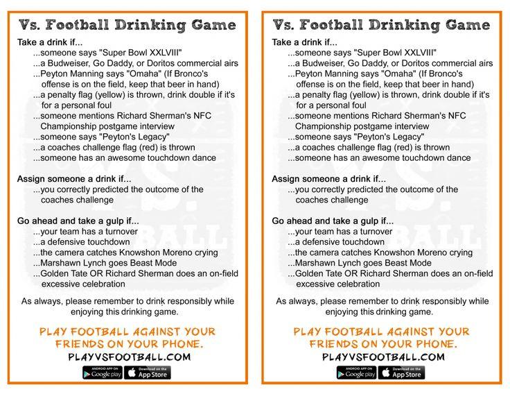 Vs Football Super Bowl Drinking Game